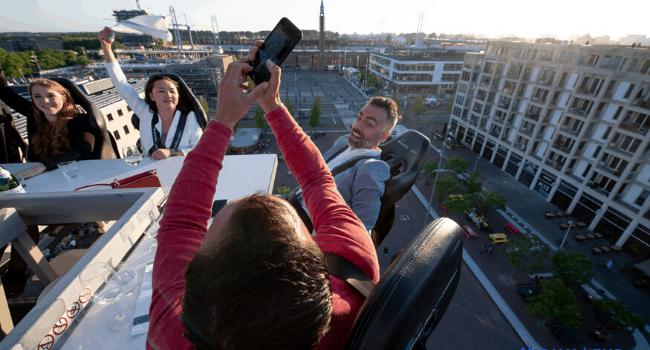 Bedrijfsuitje Amsterdam, Utrecht, Den Haag, Rotterdam - Dinner-in-the-sky - Dineren met vrienden
