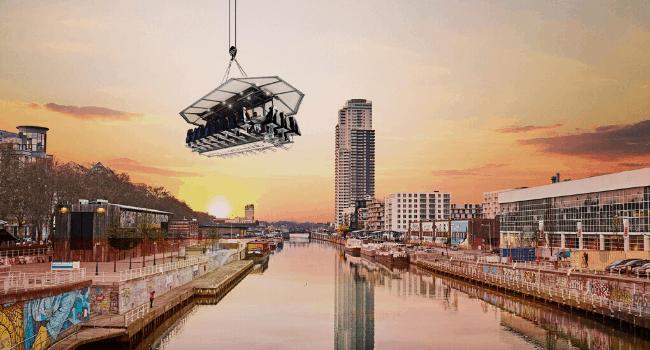 Bedrijfsuitje Amsterdam, Utrecht, Den Haag, Rotterdam - Dinner-in-the-sky - diner op platform boven-amsterdam