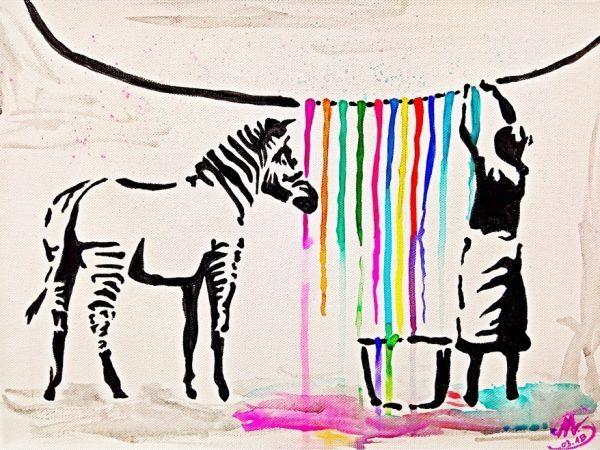 Schilder workshop organiseren als bedrijfsuitje of teambuilding-Designkeuze-Banksy_washing_Zebra