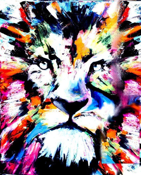 Schilder workshop organiseren als bedrijfsuitje of teambuilding-Designkeuze-Colourful_Lion