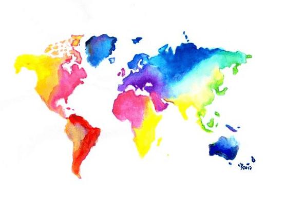 Schilder workshop organiseren als bedrijfsuitje of teambuilding-Designkeuze-Wereldkaart
