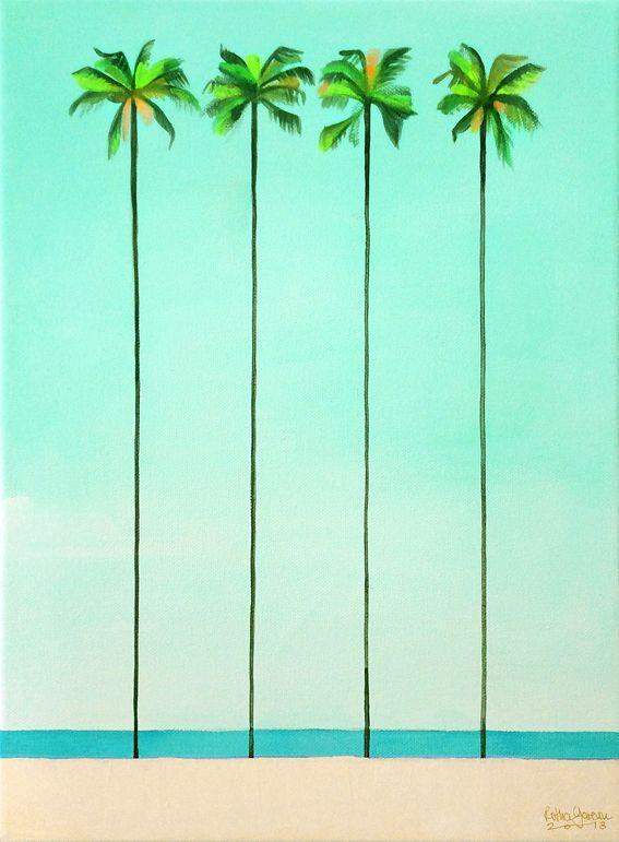 Schilder workshop organiseren als bedrijfsuitje of teambuilding-Designkeuze-grote palmbomen