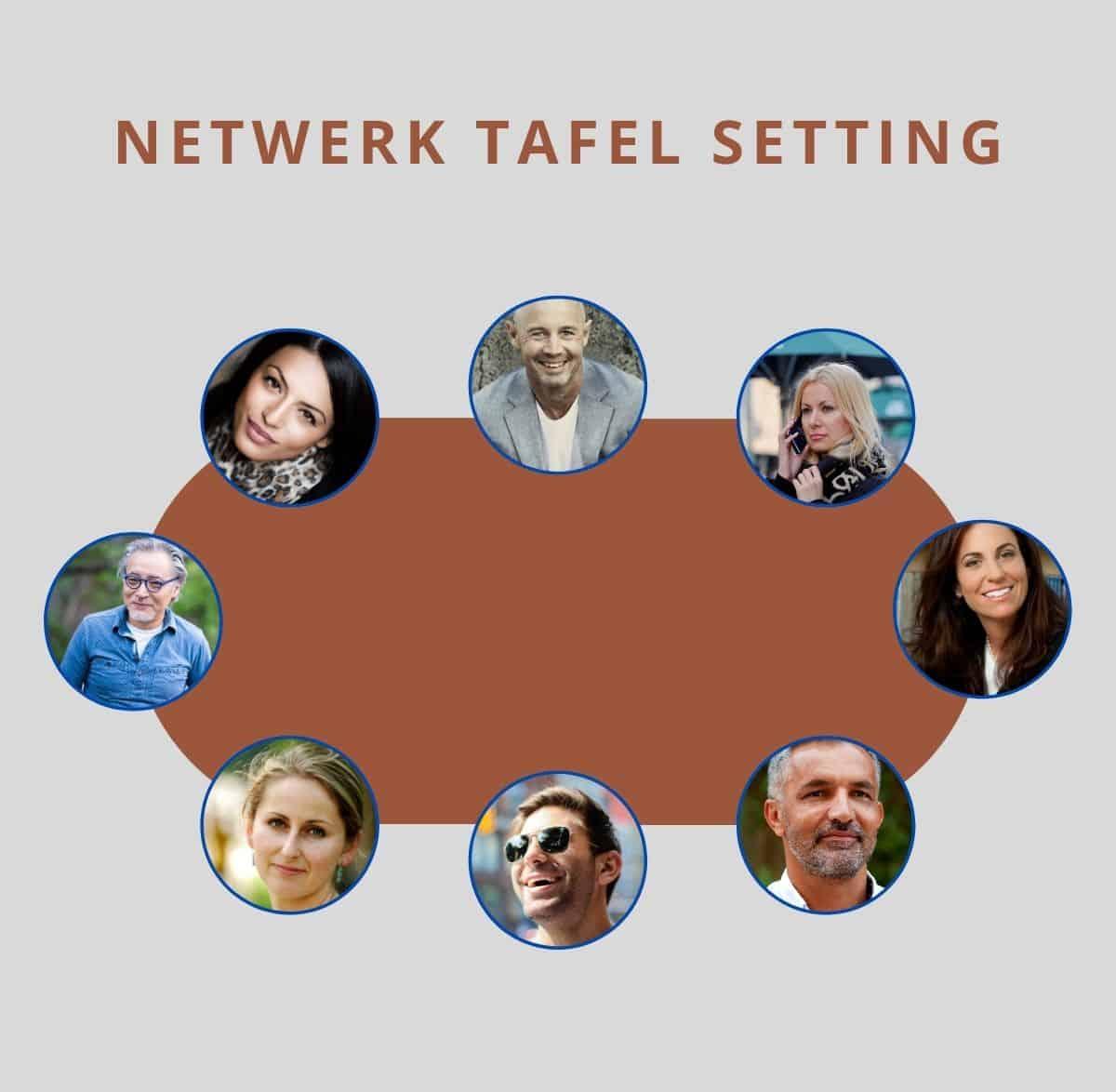 Een netwerktafel setting tijdens een online congres of symposium. Aan tafel met nieuwe toekomstige businesspartners