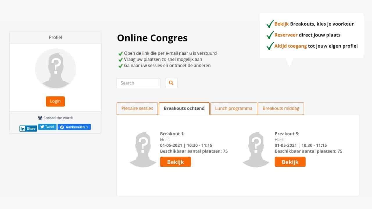 Voorbeeld online Breakout sessies met video conferentie