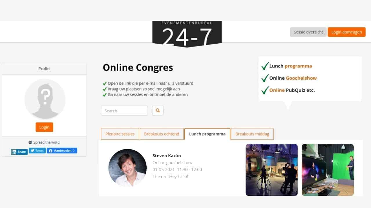 Voorbeeld van een online congres - In de lunchpauze ontspannen met een online goochelshow of online pubquiz