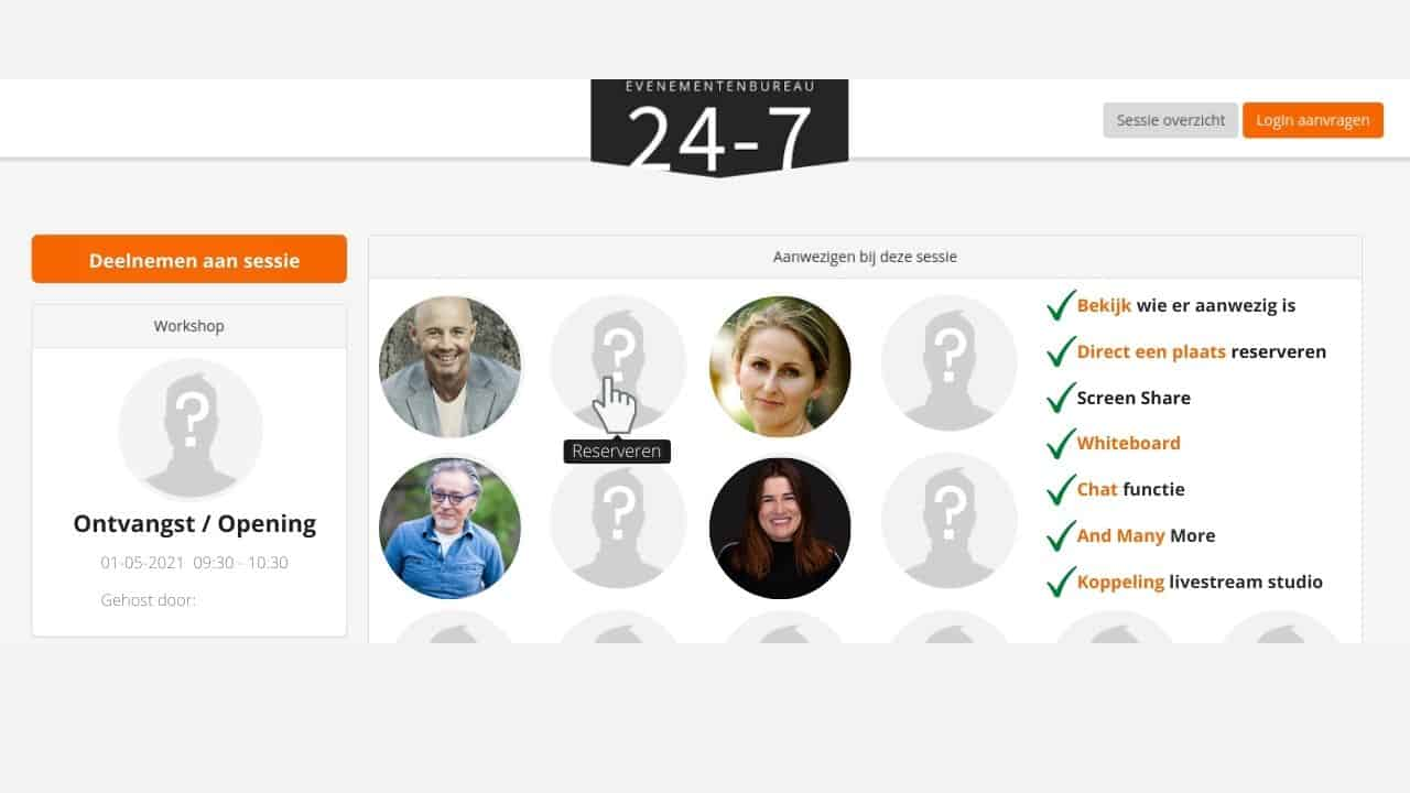 Overzicht pagina van een online plenaire sessie bij een voorbeeld van een online congres